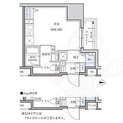 名古屋市営東山線 新栄町駅 徒歩9分の賃貸マンション 13階ワンルームの間取り