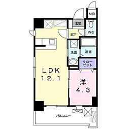 JR篠栗線 柚須駅 徒歩24分の賃貸マンション 4階1LDKの間取り