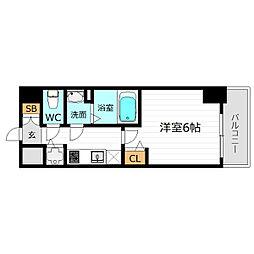 Osaka Metro中央線 阿波座駅 徒歩7分の賃貸マンション 15階1Kの間取り