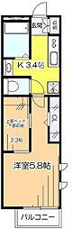 サンフラット美住[1階]の間取り