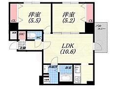 ダブルナインレジデンス西宮 9階2LDKの間取り