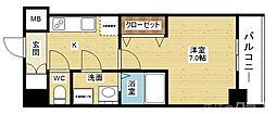 ファーストステージ北大阪レジデンス 5階1Kの間取り