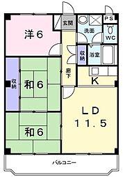 福岡県北九州市八幡西区三ケ森4丁目の賃貸マンションの間取り