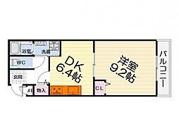 大阪府泉大津市式内町の賃貸アパートの間取り