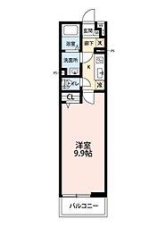 リブリ所沢旭町 3階1Kの間取り