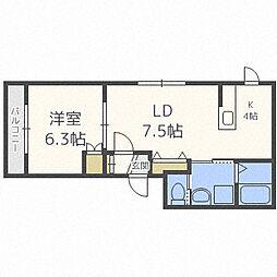 札幌市営南北線 幌平橋駅 徒歩10分の賃貸マンション 4階1LDKの間取り