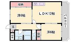 JR姫新線 余部駅 徒歩8分の賃貸アパート 1階2LDKの間取り