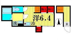 JR総武線 亀戸駅 徒歩6分の賃貸アパート 2階ワンルームの間取り