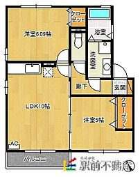 リビングタウンYOUTH C棟 2階2LDKの間取り