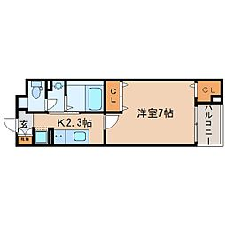 JR東海道本線 東静岡駅 徒歩4分の賃貸マンション 5階1Kの間取り
