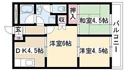 愛知県名古屋市緑区黒沢台4丁目の賃貸アパートの間取り