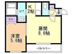 A BOND桑園弐番館(アボンド桑園弐番館) 3階1LDKの間取り