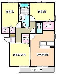 三重県四日市市大井手2丁目の賃貸アパートの間取り