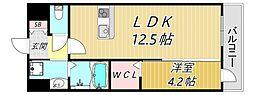 JR福知山線 塚口駅 徒歩1分の賃貸マンション 3階1LDKの間取り