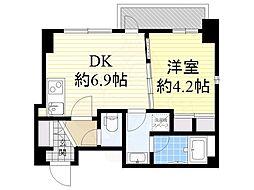 Osaka Metro谷町線 南森町駅 徒歩10分の賃貸マンション 10階1DKの間取り