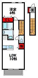 JR鹿児島本線 ししぶ駅 徒歩6分の賃貸アパート 2階1LDKの間取り
