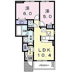 クアトロ 1階2LDKの間取り