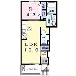 JR身延線 国母駅 徒歩6分の賃貸アパート 1階1LDKの間取り