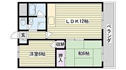 鶴見緑地道端マンション[403号室]の間取り