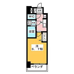 アステリ鶴舞エーナ 8階1Kの間取り