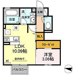 仮 D-room片野新町[102号室]の間取り