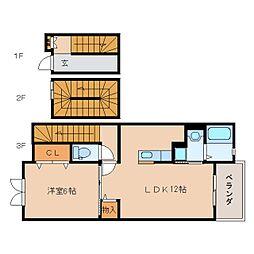 奈良県大和郡山市小林町の賃貸アパートの間取り