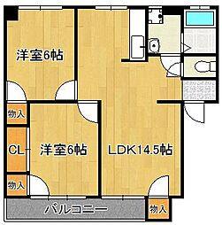 HSビル 2階2LDKの間取り