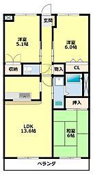 愛知県みよし市三好町大坪の賃貸マンションの間取り