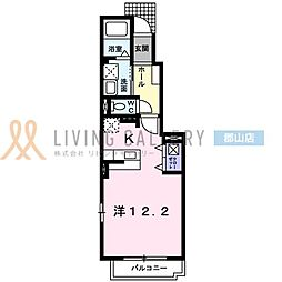 JR東北本線 安積永盛駅 徒歩13分の賃貸アパート 1階1Kの間取り