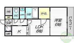 ノルデンタワー新大阪アネックス 25階1LDKの間取り