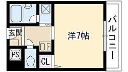 大阪モノレール本線 南摂津駅 バス7分 鳥飼西小前下車 徒歩4分の賃貸マンション 3階1Kの間取り