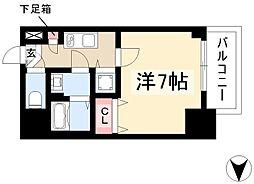 エスプレイス鶴舞ガーデンテラス 6階1Kの間取り