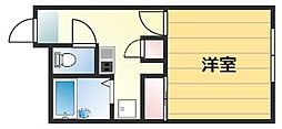 JR片町線(学研都市線) 忍ヶ丘駅 徒歩6分の賃貸マンション 1階1Kの間取り