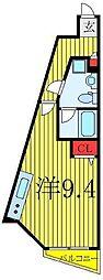 東京メトロ有楽町線 要町駅 徒歩10分の賃貸マンション 14階ワンルームの間取り