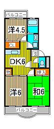 クレスト松原[3階]の間取り