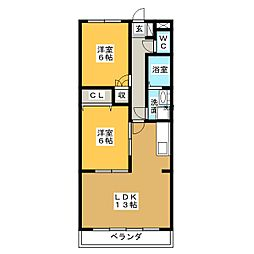 愛知県名古屋市天白区鴻の巣1丁目の賃貸アパートの間取り
