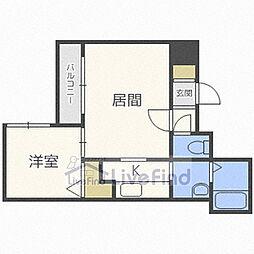 札幌市営東西線 菊水駅 徒歩4分の賃貸マンション 8階1LDKの間取り