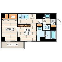 アムール香川 4階1DKの間取り