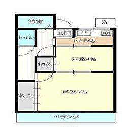 神奈川県横浜市港北区大豆戸町の賃貸アパートの間取り