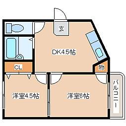 兵庫県神戸市長田区戸崎通2の賃貸マンションの間取り