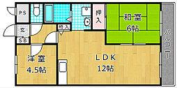 大阪府枚方市出口6丁目の賃貸マンションの間取り