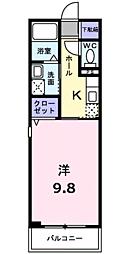 JR宇部線 居能駅 徒歩11分の賃貸マンション 2階1Kの間取り