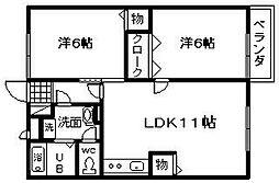 スペースメテオライト B棟[102号室]の間取り