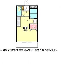愛知県一宮市萩原町河田方字中道の賃貸アパートの間取り