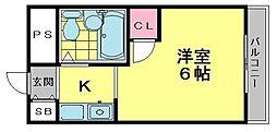 大阪府寝屋川市美井町の賃貸マンションの間取り