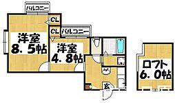 福岡県大野城市栄町3丁目の賃貸アパートの間取り