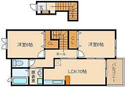 大阪府藤井寺市古室1丁目の賃貸アパートの間取り