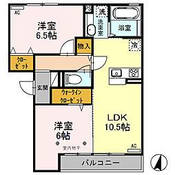 (仮)D-room荒牧町[203号室]の間取り