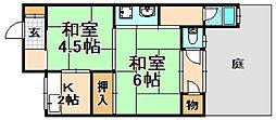 兵庫県伊丹市中央5丁目の賃貸アパートの間取り