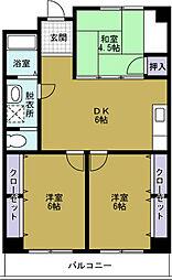 大阪府大阪市港区夕凪2丁目の賃貸マンションの間取り